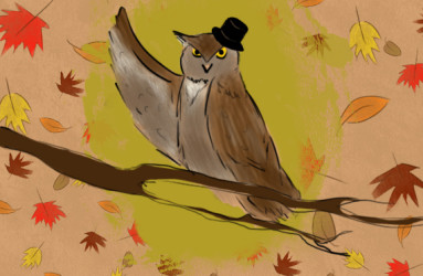 Fancy Owl. Illustration by Maddy Beaupré. mcbeaupre.com